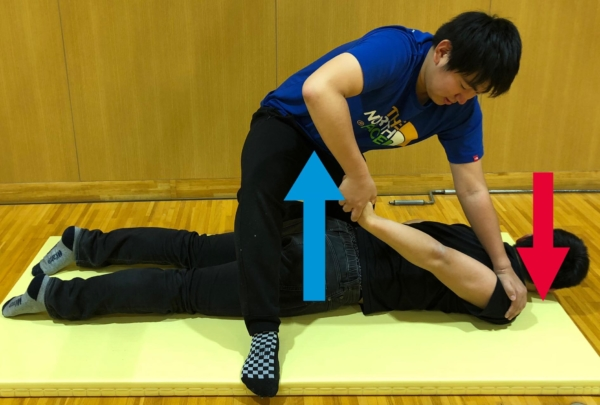 上腕二頭筋のパートナーストレッチ方法2